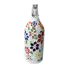 1 litre glass bottle - Floral Motifes
