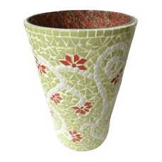 Green conical vase, floral motifs